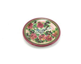 Ceramic Butter Pat, Coaster, Tea Bag Rest - Pink Porcelain Floral and Bird Design - One of a Kind Handmade Pottery