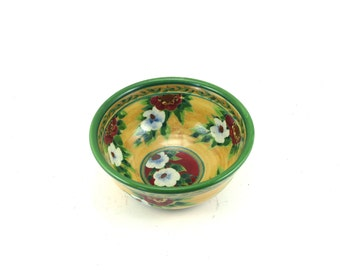 Cereal Bowl - Floral Ceramic Pottery Bowl - OOAK - Handmade Porcelain Bowl with Red and White Flowers