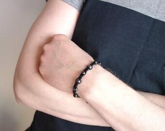 Black leather bracelet macrame cuff bracelet mens leather bracelet black glass beads
