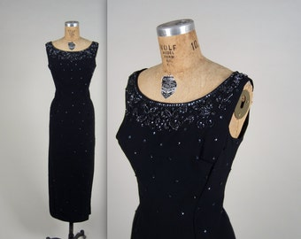 1950s sequin wiggle gown • vintage 50s dress • beaded evening gown