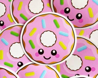 Pink Donut Vinyl Sticker 10cm, fun laptop sticker, cute food sticker, kawaii donut illustration, vinyl laptop sticker, die cut sticker