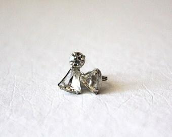 vintage 50s sparkle rhinestone earrings / screw back, silver and crystal, angel shaped, elegant costume jewelry