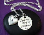 You're My Person Necklace - Best Friend Gift - Personalized Initial Jewelry - Grey's Anatomy Inspired - Coworker Birthday Gift