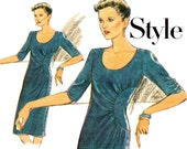 80s Asymmetric side draped Dress Pattern Style 2969 Vintage Sewing Pattern Size 12 Bust 34 inches