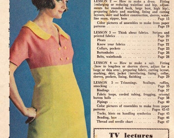 60s Vintage Dressmaking Magazine How To Sew Tips great ads including Singer Sewing Machine Illustrations