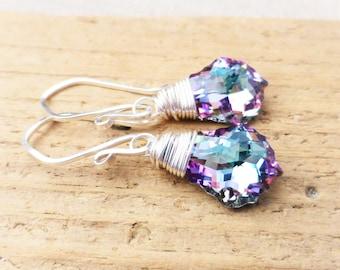 Swarovski Crystal Earrings, Aquamarine, Purple, Pink Crystal Earrings, Vitrail Prism Earrings, Sterling Silver Wire Wrapped Earrings, Gift