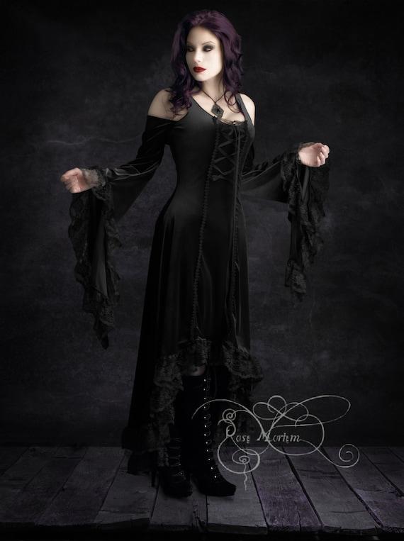 Elisa romantic gothic velvet dress handmade plus by rosemortem