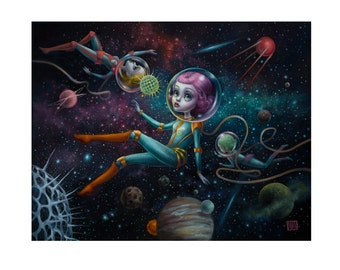 The Spiral Galaxy  - Limited Edition signed numbered 11x14 Pop Surrealism Fine Art Print - by Mab Graves -unframed