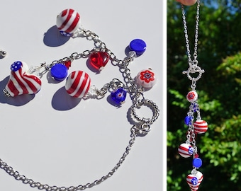 Red, White & Blue Car Charm for Rear View Mirror