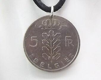 Belgium Coin Necklace, 5 Francs, Coin Pendant, Leather Cord, Mens Necklace, Womens Necklace, Coin Jewelry, 1962