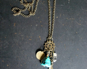 CLEARANCE - Talisman Necklace - turquoise, brass feather, coin, quartz dagger OOAK