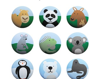 Hand Painted Knob - Children's Custom Hand Painted Critters of the World Zoo Animal Drawer Knobs Pulls or Nail Covers for Kids