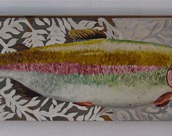 Trout on Damask original acrylic painting on re purposed wood