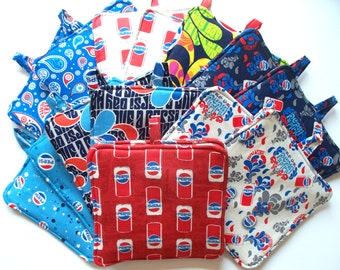 Pepsi-Cola Hot Pads,Heavy Duty,Thick Pot Holders,Your Choice of Pepsi Designs, Catch That Pepsi Spirit,Pepsi Cans, Pepsi Bottle Caps,Paisley