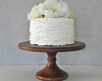 """SHIPS NOW 12"""" Wedding Cake Stand Pedestal Cupcake Stand Rustic Wooden Wedding Grooms E. Isabella Designs Featured In Martha Stewart Weddings"""