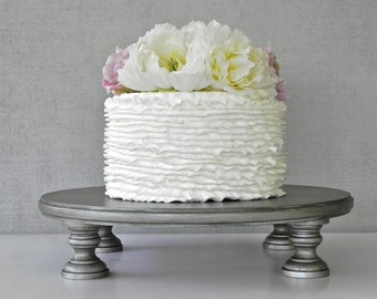 "Silver Cake Stand 18"" Wedding Cake Stand Cupcake Aged Vintage Silver Topper Wedding E. Isabella Designs Featured In Martha Stewart Wedding"
