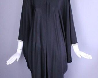 1970s BILL BLASS silk jersey draped black CAFTAN rhinestone trim disco era avant garde vintage 70s kaftan