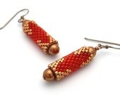 Beaded bead earrings - bead woven earrings - beaded earrings - red earrings - copper earrings - beadwork jewelry - dangle earrings
