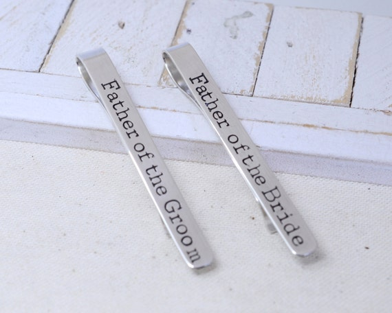 Father of the Bride/Groom Tie Clip Set - Sterling Silver Wedding Bridal Accessories - Wedding Keepsake - Gift for Daddy Dad In Laws
