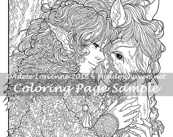 """Art of Meadowhaven Fantasy Coloring Page Download: """"Friendship"""""""