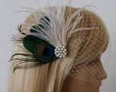 Birdcage Veil , Peacock Feathers Fascinator,wedding fascinator,bridal hair