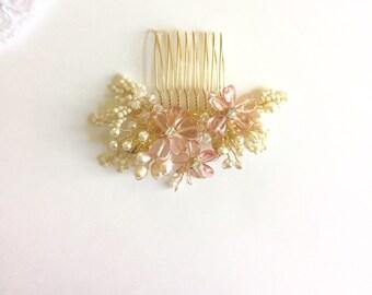 Cherry Blossom, Bridal Hair Comb, Pink Hair comb, Spring Wedding, Pink & gold wedding