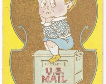 Waiting For a Letter - Antique Postcard - Comical, Cartoon, Humor, Funny, Letters, Mail, U.S. Mail, Mailboxes, Children, Paper, Ephemera