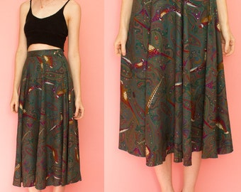 80s Paisley Pheasant Print Green A Line  Circle  Skirt The Eagles Eye Size 6