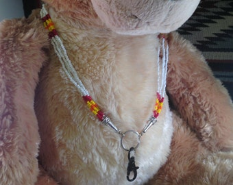 Native American Beaded Lanyard - White