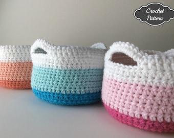 CROCHET PATTERN - Crochet Basket Pattern, Small Crochet Basket, Spring Decor, Cotton Crochet Basket Tutorial, Crochet Storage Basket