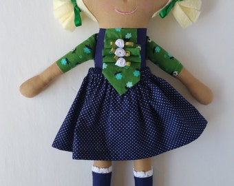 Hazel - maylo studio cloth doll ragdoll modern handmade custom heirloom nursery decor girl auburn hair