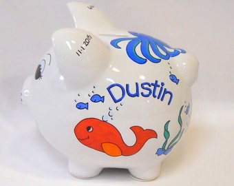 Personalized Piggy Bank Tropical Fish, Whale and Octopus