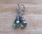 Moss Aquamarine Earrings,  March Birthstone,  Blue Green Dangle Earrings, Wire Wrapped,  Sterling Silver