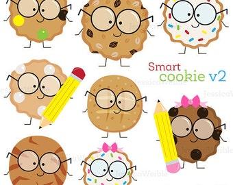 Smart Cookie v2 Cute Digital Clipart, Cookie with Glasses Clipart, School Clipart, School Clip art, Cookie Clipart, Children Graphics, Smart