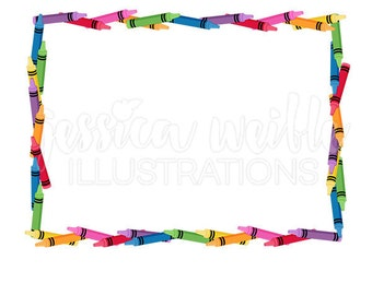 Crayon Frame Clip Art, Cute Digital Clipart, Crayon Clip art, Crayon Graphics, Illustration, #1679