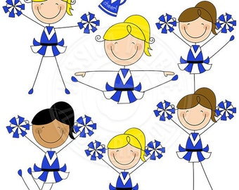 BLUE Cheerleader Stick Figures Cute Digital Clipart for Commercial or Personal Use, Cheerleader Graphics, Cheerleader Stick Figures clip art