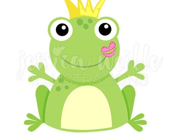 Kiss a Frog Cute Digital Clipart, Frog Kiss Clip art, Frog Prince Graphics, Cute Frog with Crown Illustration, #1006