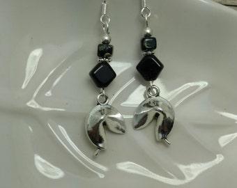 Fortune Cookie Earrings, Black Fortune Cookie Sterling Silver Dangle Earrings, Silver Fortune Cookie Sterling Silver Earrings