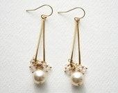 Long Pearl Earrings, Wedding Jewelry, Bridal Earrings