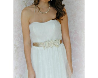 Ivory and Champagne Crystal & Pearl Sash, Bridal Sash, Oatmeal Bridal Belt - AMARI