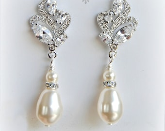 Crystal and Pearl Earrings, Swarovski Bridal Earrings, Cubic Zirconia Earrings, Rose Gold - LUSTRE