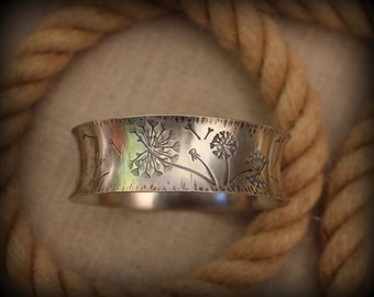 Dandelion bangle bracelet, Sterling silver bangle bracelet
