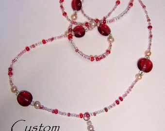Pink pearl and rose glass crystal lanyard DIY kit All included, beginner friendly. Great teacher gift!