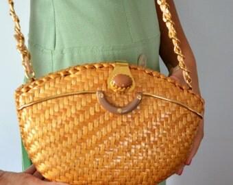 Vintage Handbag, Vintage Purse, 1950s Handbag, Wicker Handbag, Greta, 1950s Wicker Handbag, Jacobson's, Summer, Basket Weave