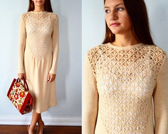 Vintage Knit Dress, Marni Knit, Oatmeal Knit Marni Dress, 1970s Dress, Casual Dress, Knit Dress