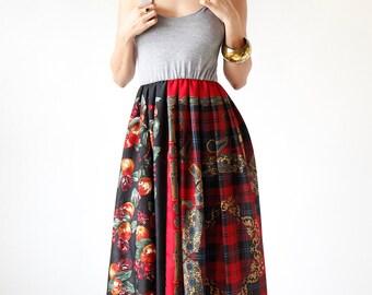 Black Red and Gray Boho Floral Maxi Dress - Extra Long Size Small Medium - Eco Friendly Womens Apparel by Tammy Jo Fashion