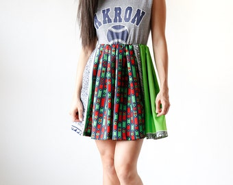 Bright Green and Blue Floral Mini Dress Vintage Baseball T Sundress - Eco Friendly Womens Apparel by Tammy Jo Fashion