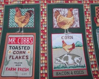"""44"""" Wide Cotton Screen Printed Fabric Chickens Hens Roosters Farm Birds Pigs  Cows Corn Country / Quilting Fabric Sewing Home Decor S132"""