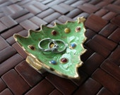 Christmas Tree Ring Dish, vintage, hand painted, Soap Dish, trinket dish