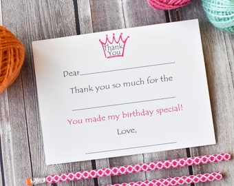 Kids Fill In The Blank Thank You Notes Pink Princess / Thank You Notes / Thank You Note Cards / Kids Thank You Notes / Fill In The Blank